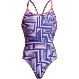 Funkita Diamond Back One Piece Badpak Dames blauw/wit